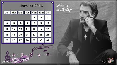 Calendrier 2016 Johnny Hallyday