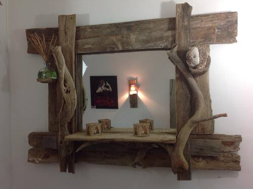 Tres beau miroir en bois flotté