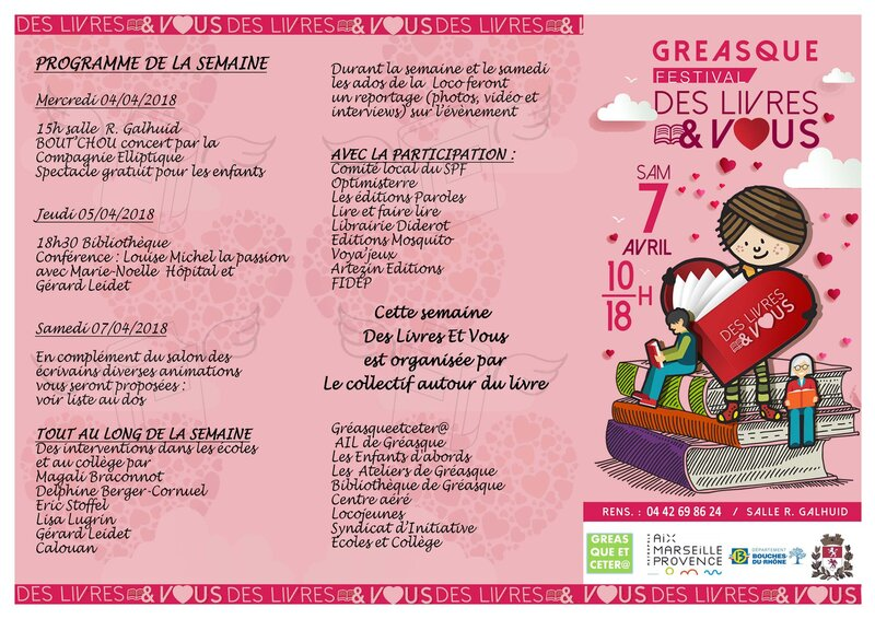 Je serai au salon de Gréasque le 7 avril 2018