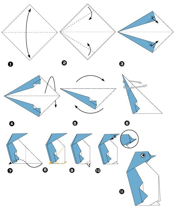 Manchot en origami: