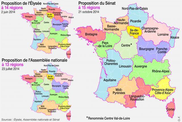 La commission des Lois de l'Assemblée nationale, examinant en seconde lecture la réforme territoriale, a rétabli la carte à 13 régions métropolitaines actée le 23 juillet.