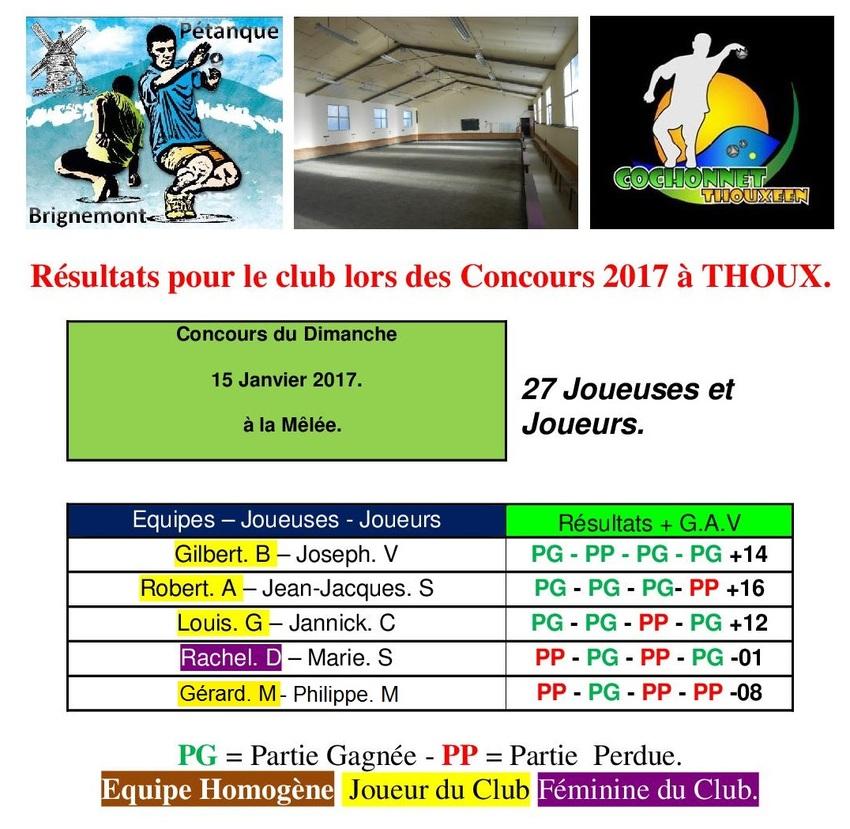 10ième Concours du Dimanche après-midi à Thoux.