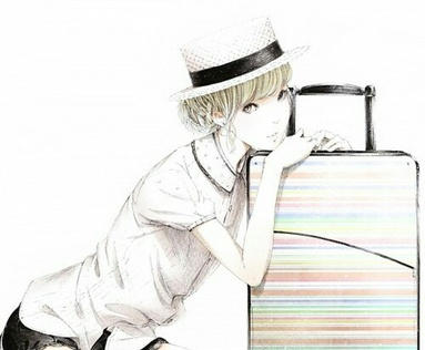 Image de girl, anime, and suitcase