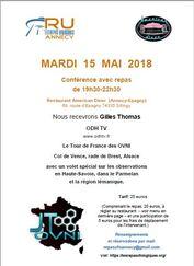 Le 15 mai 2018, conférence ovni à Annecy avec Gilles Thomas