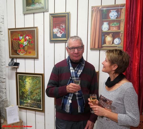 Jean-Pierre Loget expose ses si belles toiles dans l'atelier de Laurence Petit à Prusly