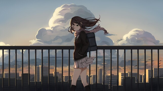 Anime 2560x1440 anime anime girls school uniform brunette sunset city knee-highs tie backpacks scarf short skirt skirt green eyes Shibuya Rin THE iDOLM@STER: Cinderella Girls