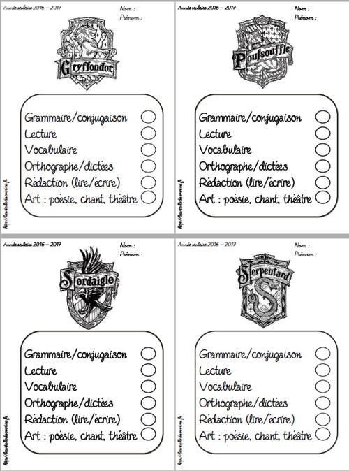 Pages de garde thème Harry Potter