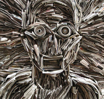 Sculptures made from newspapers and books, inspired by death of print, Nick Georgiou