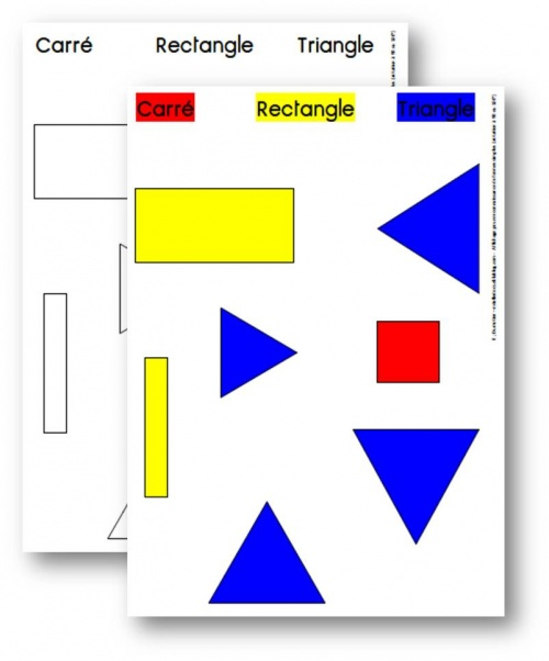 Cycle 1, cycle 2 - Affichage pour analyse de formes : carré, triangle, rectangle