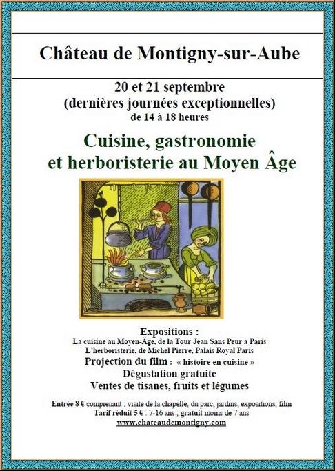 Dernières journées sur la gastronomie au Moyen-Âge au château de Montigny sur Aube