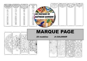 Marque pages à colorier