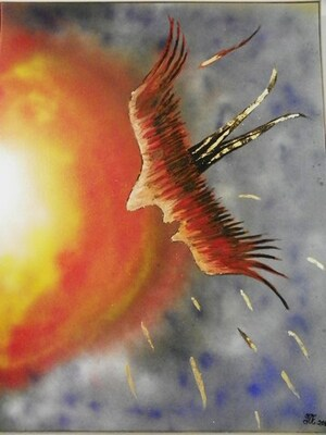 "Art Painting : ""DANS L'ESPRIT D'ICARE"" = ""IN THE SPIRIT OF ICARUS"""