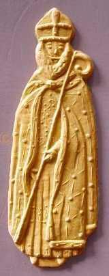 """Biscuit réalisé dans un moule à spéculoos en bois """"Saint Nicolas décoré"""" - Arts et sculpture: sculpteurs contemporains"""