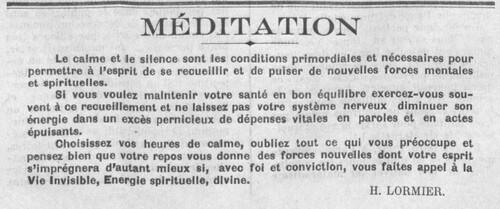 Méditation, par Henri Lormier (Le Fraterniste, 15 octobre 1930)