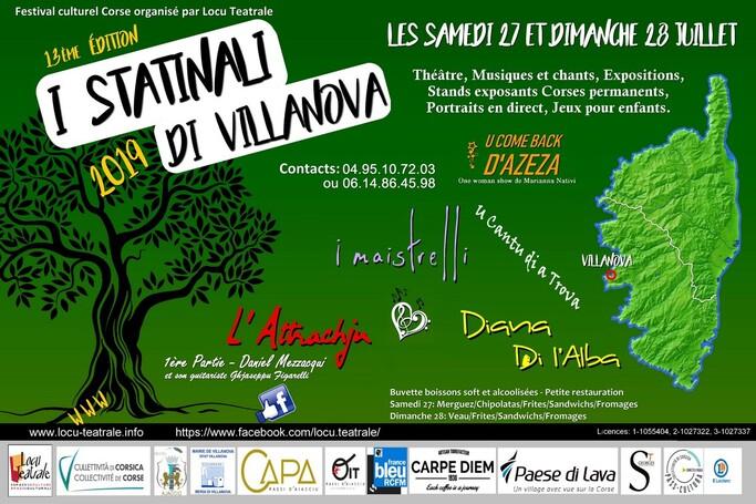 """27 et 28 Juillet 2019 - Festival """"I statinali di Villanova"""" édition 2019"""
