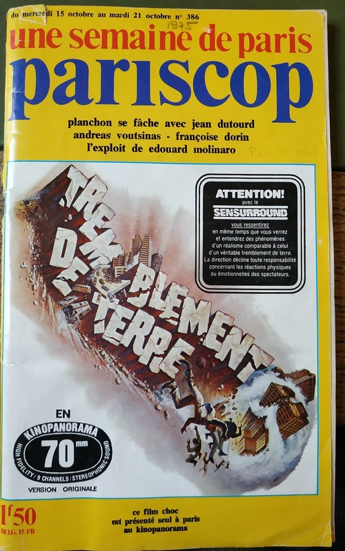 TREMBLEMENT DE TERRE (EARTHQUAKE) - CHARLTON HESTON BOX OFFICE 1975