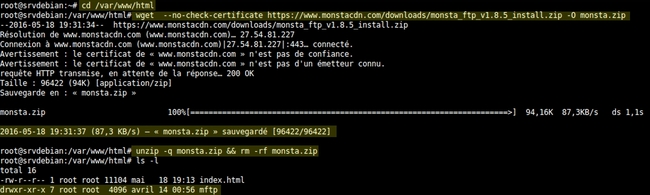 Installer Monsta FTP sur Debian Jessie