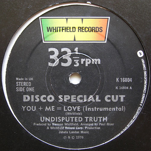 1976 : Single 12 Inch Promo Whitfield Records PRO 638 [US]