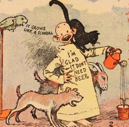 R. F. Outcault, The Yellow Kid, extrait de The New York Journal, 1897 : - Je suis heureux, elle (la plante) n'a pas besoin de bière.