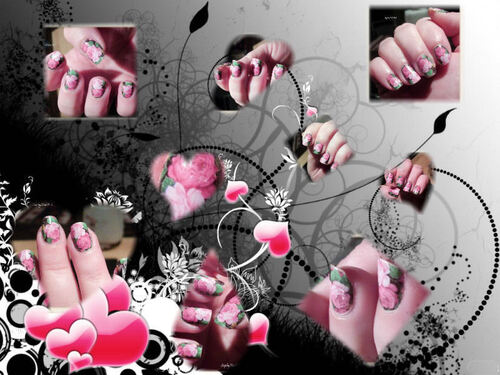 Nails Decals Roses sur fond vert