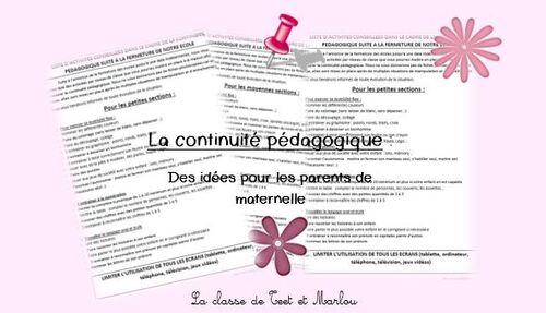 continuité pédagogique maternelle