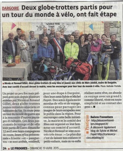 Renaud et Nicole font une étape de tour du monde à Dargoire