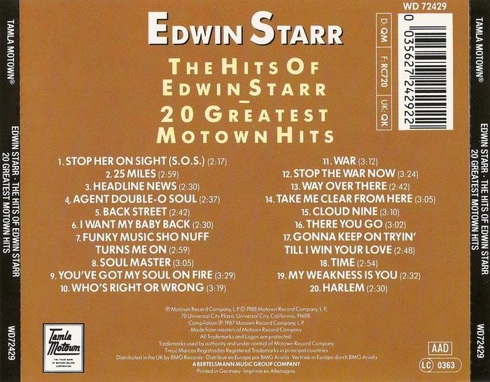 "Edwin Starr : Album "" The Hits Of Edwin Starr "" Tamla Motown Records STML 11209 [ UK ]"