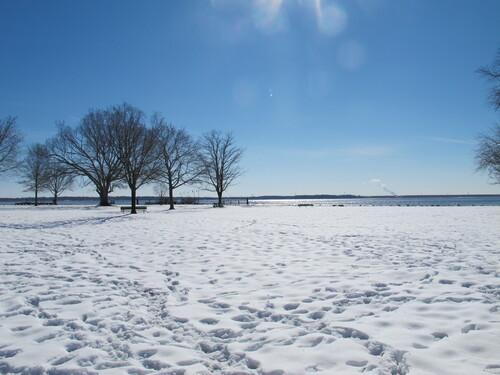 Les bords de la Delaware River sous la neige