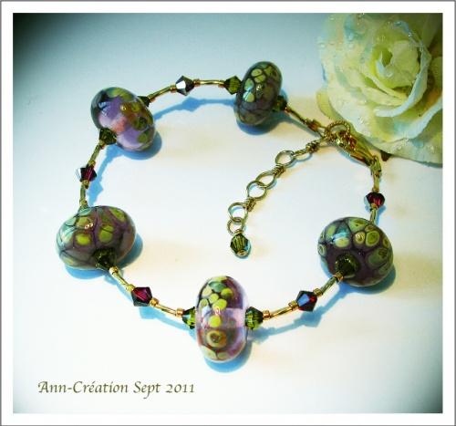 Bracelet Perles d'Artiste Verre Filé Mauve Ocre / Plaqué Or Gold Filled