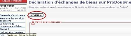 BoutonEntrerDebs sur Prodouane