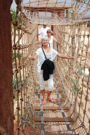 Huguette sur le pont de singe