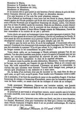 Discours de M.FERAOUN