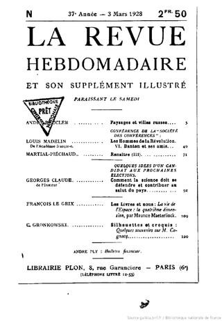 Sans âme par André Thérive (La Revue hebdomadaire mars 1928)