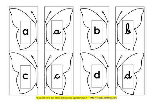 """Jeu """"Les papillons des correspondances minsucules scriptes / minuscules cursives"""" GS"""