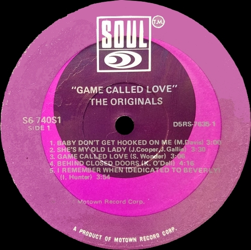"The Originals : Album "" Game Called Love "" Soul Records S6-740S1 [ US ]"