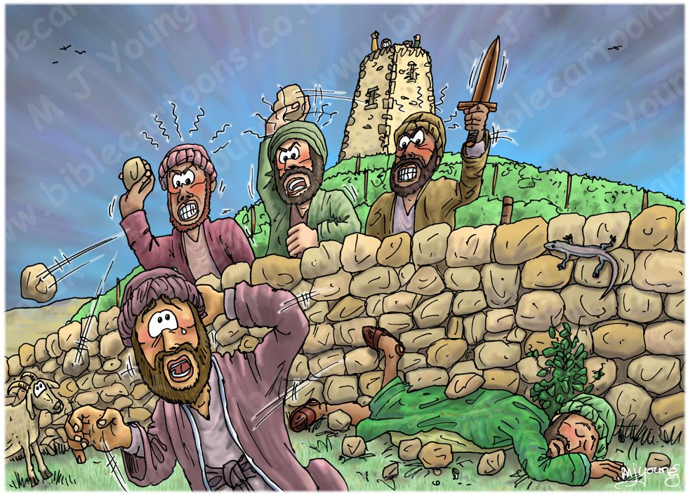 Matthew 21 - Parable of the Wicked Tenants - Scene 03 - Servants killed 980x706px col.jpg
