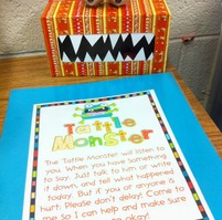 The tattle monster! The kids speak or write their tattles to this instead of the teacher. :) Make sure they ASK PERMISSION before going to it or else the entire class will be talking to the tattle monster all day! GREAT for the little ones!