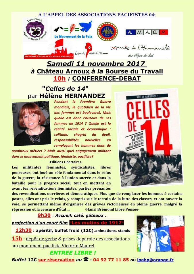 Château-Arnoux: INVITATION à la Journée Pacifiste le 11 Novembre 17