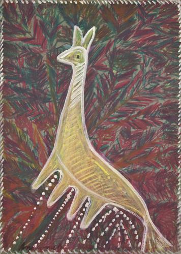 Bel animal jaune, 1965, gouache et crayon gras sur carton, 70 x 50 cm