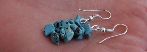 boucles d'oreilles en pierres semi-naturelles de turquoise