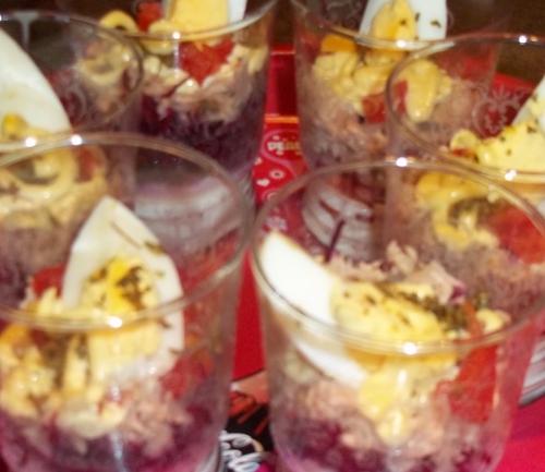 Panacotta salée , Ricottas aux épices basque, thon et légumes de saison- Thermomix