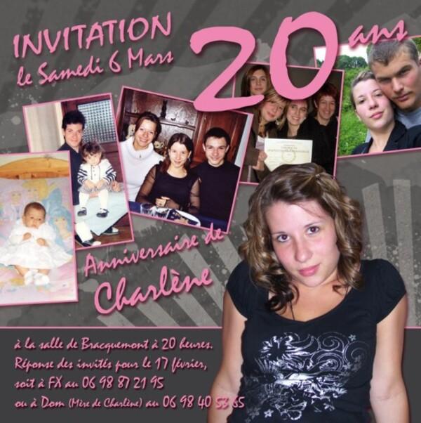 Faire-Part Charlene 20 ans