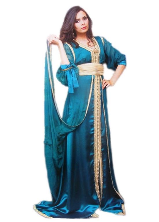 Takchita haute couture pour mariage marocain en satin de soie et catan en mousseline pas cher pure et simple TAK-S839