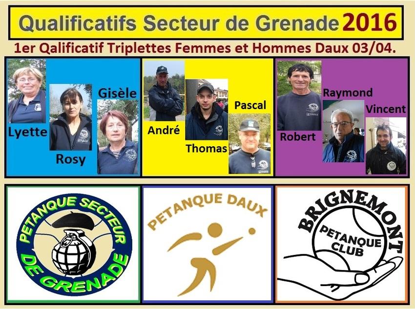 1er Qualificatif Triplettes Femmes et Hommes à Daux.
