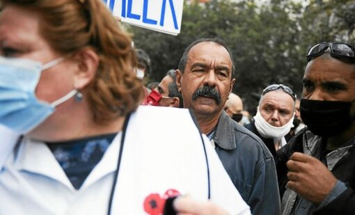 ©JULIEN DE ROSA/EPA/MAXPPP - epa08545849 General secretary of the 'Confederation Generale du Travail' (CGT) trade union Philippe Martinez attends a hospital workers march in a protest against...
