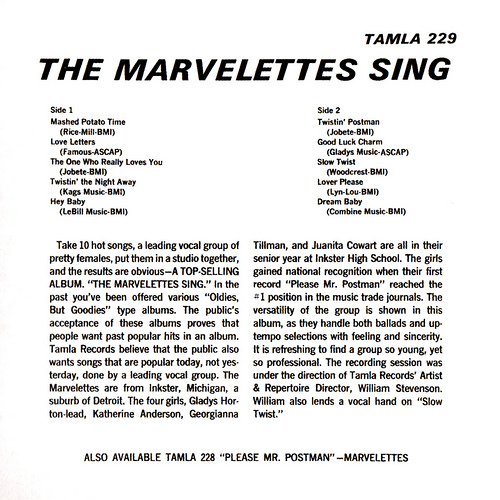 "The Marvelettes : Album "" Smash Hits Of '62 "" Tamla Records TM 229 [ US ]"