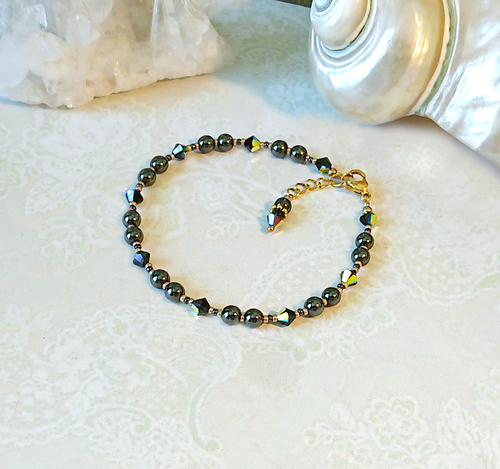 Bracelet ajustable pierre hématite gris anthracite et cristal de Swarovski 4mm / acier doré