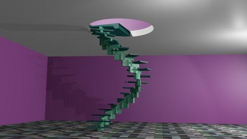 Le rendu de l'escalier colimaçon