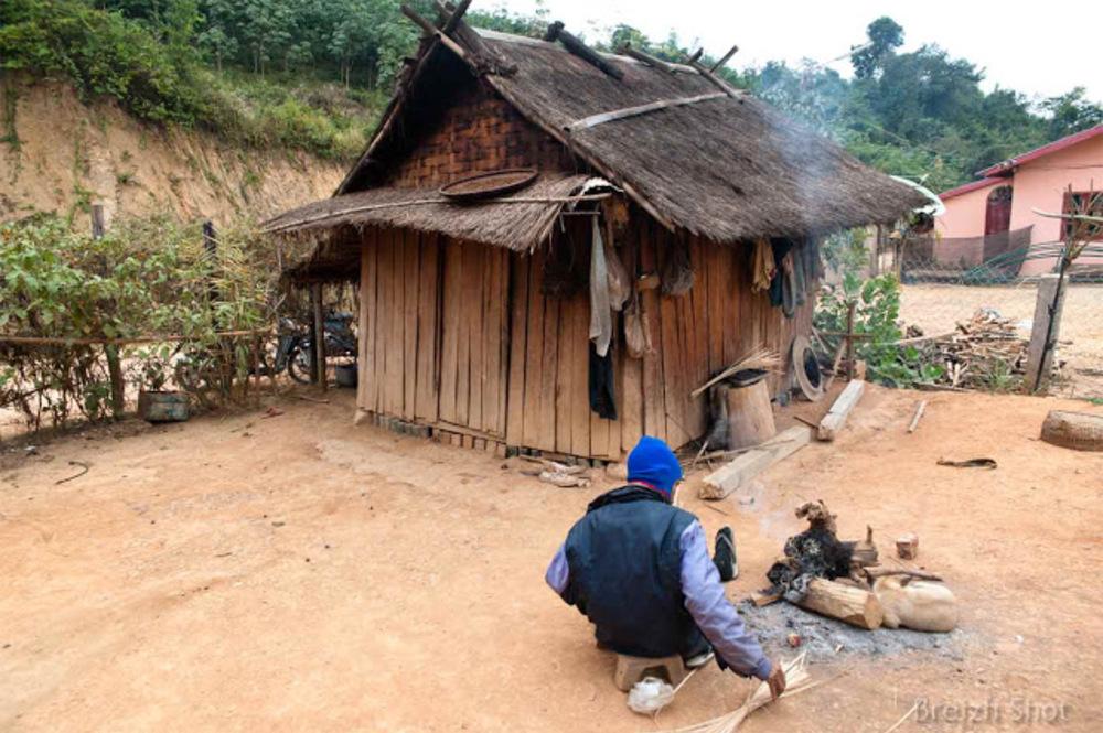 cabane, tresseur, feu Laos