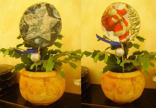 Décorations de Noël pour plantes et fleurs en pot
